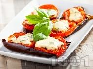 Патладжаново предястие с домати и синьо сирене
